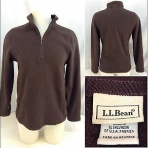 L.L. Bean Brown Pullover Fleece Sz Small